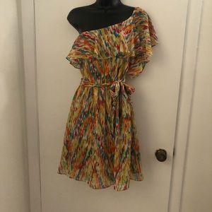 Patterned one shoulder ruffle dress